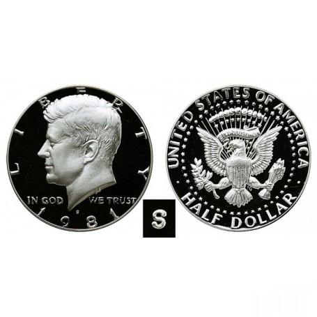 1981-S Kennedy Half Dollar Type 2 Clear S