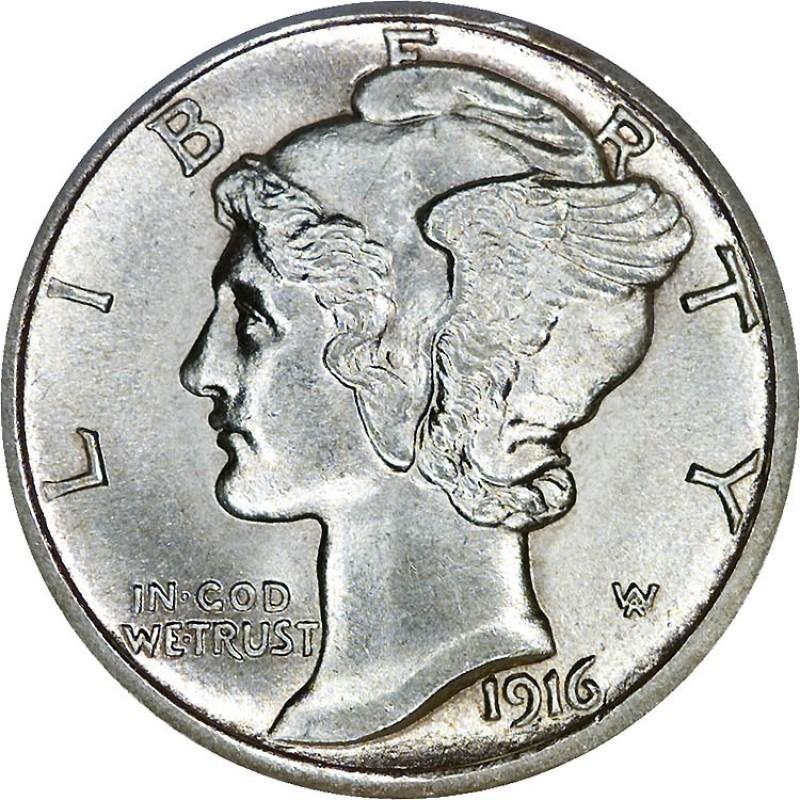 1916-D Mercury Dime (Stock Image Shown)