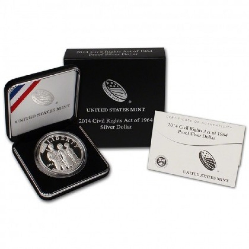 2014-P Civil Rights Act of 1964 Commemorative Silver Dollar Proof OGP/COA