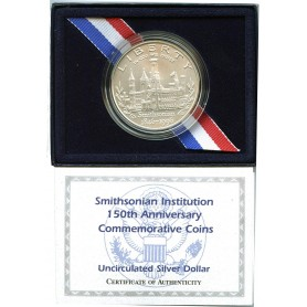 1996-D Smithsonian Institution 150th Anniversary Commemorative Silver Dollar UNCIRCULATED