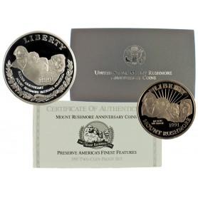 1991-S United States Mount Rushmore 2-Coin Anniversary Proof Set
