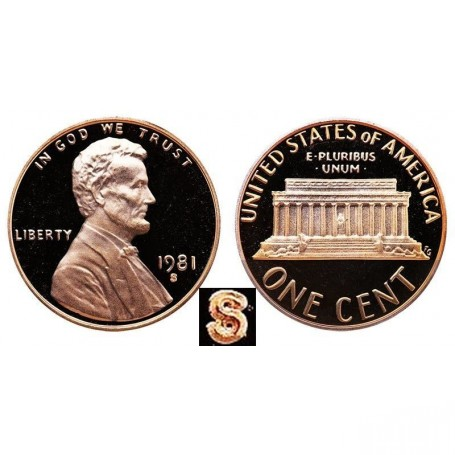 1981-S Lincoln Cent Proof Type 1 Filled S