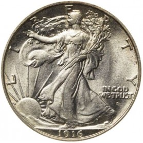 1916-D Walking Liberty Half Dollar SEMI-KEY DATE