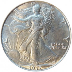 1917-D Reverse MM Walking Liberty Half Dollar Semi-Key Date