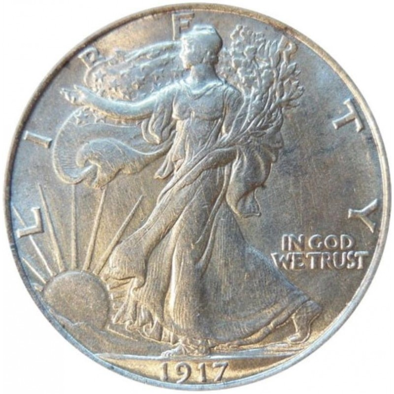 1917-D Reverse mint mark Walking Liberty Half Dollar