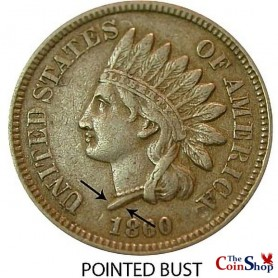1860 Pointed Bust Indian Head Cent