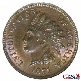 """1871 Shallow """"N"""" Indian Head Cent"""