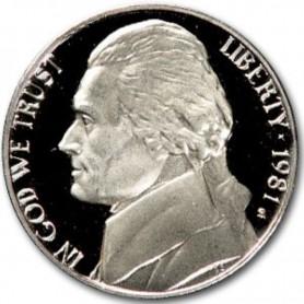 """1981-S Jefferson Nickel Type 2 Clear """"S"""""""