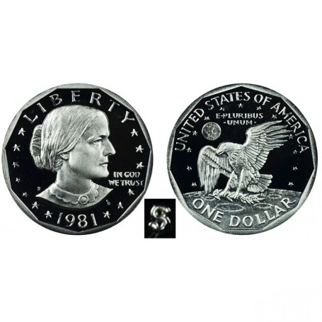 1981-P Susan B Anthony Dollar Coin No 5389 In a Protective 2x2