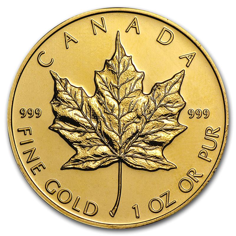 1 Ounce Canadian Gold Maple Leafs Randum Date Bu