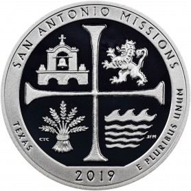 2019-S San Antonio Missions National Historical Park Silver Proof Quarter
